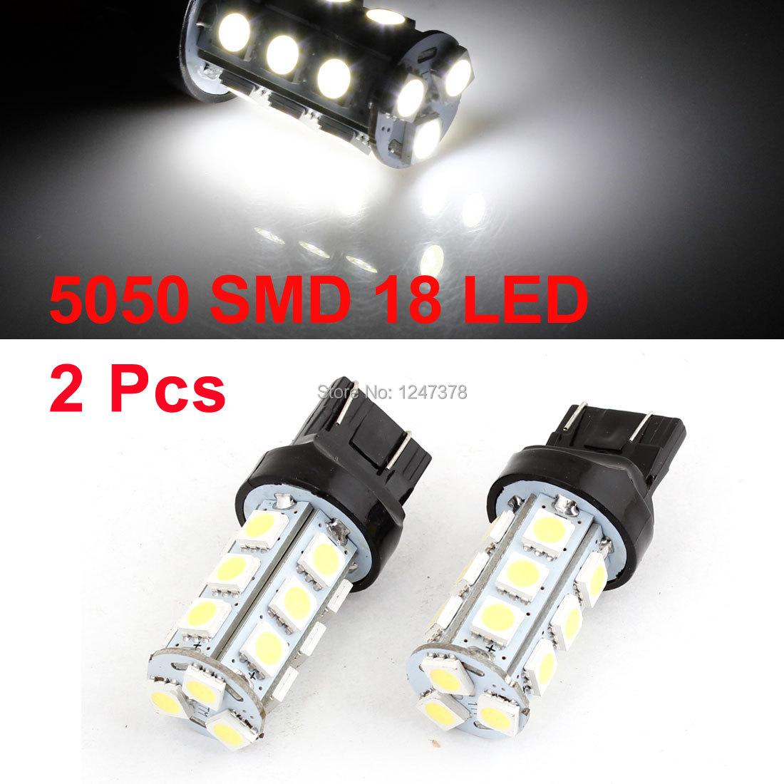 Pair 12V Vehicle Stopping Parking Lamp 7443 5050 SMD 27 LED Light White 12V(China (Mainland))
