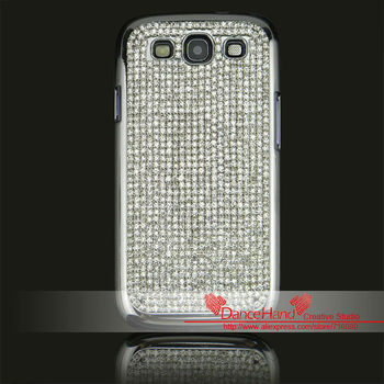 Free Shipping Luxury Plating Rhinestone Bling Crystal Hard Back Skin Case Cover for I9300 Galaxy S3