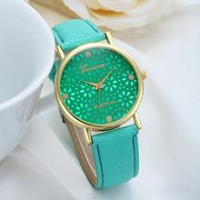 Simple Style Women Casual Wristwatch 2015 Fashion Snowflake Leather Quartz Watch Ladies Dress Watch Relogio Feminino Cheap Clock