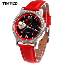 TIME100 Women's12 constellation Cancer Automatic Self-wind Mechanical Skeleton Leather Band Wirst Watches relogio feminino