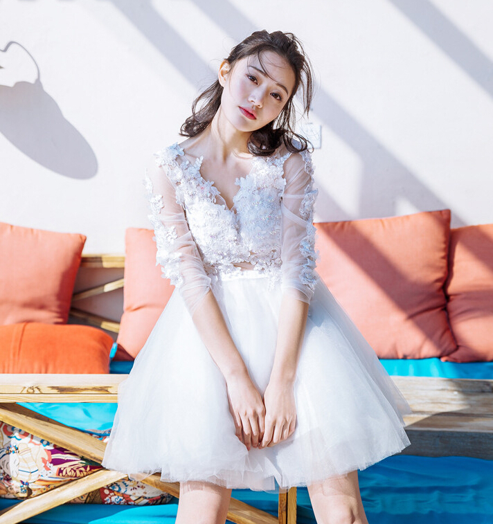 New Spring summer Sequined dimensional flowers Tulle Princess Sweet Party Puff Dresses D1065(China (Mainland))