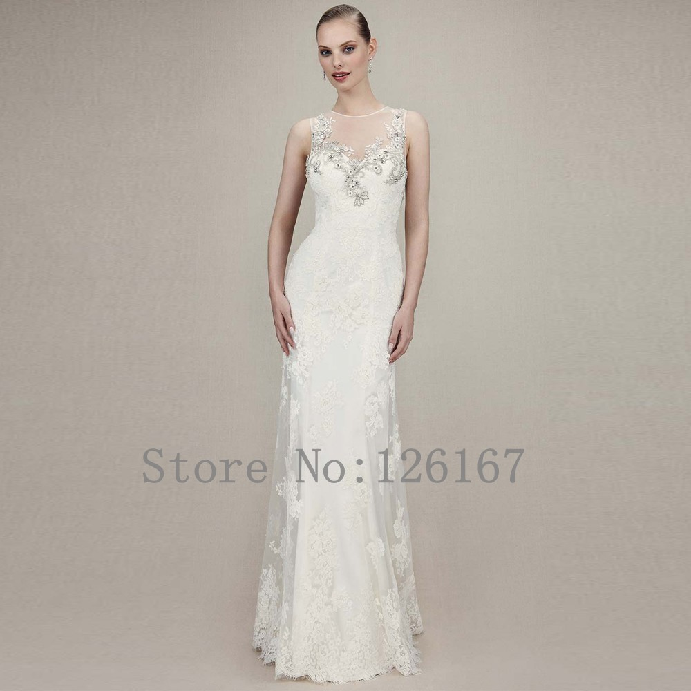 Lace appliqued beaded top wedding dresses tank sleeveless for Top of the line wedding dresses