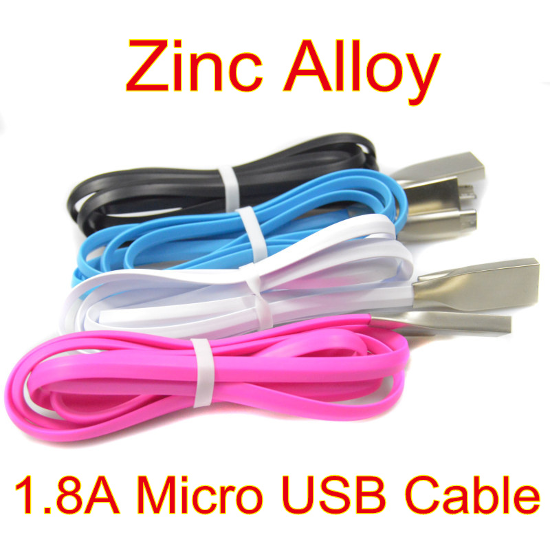 1.8A Fast Charging Flat 1M 3FT Zinc Alloy Micro USB Cable Charger Sync Data Cord For Samsung Galaxy S7, For Xiaomi Mi4(China (Mainland))
