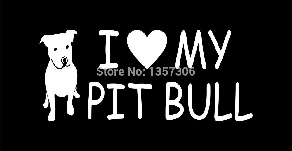 Wholesale 50 pcs/lot I Love My Pit Bull With Dog Graphic Vinyl Sticker Decal Car Window Truck Bumper Auto Door 8 Colors(China (Mainland))