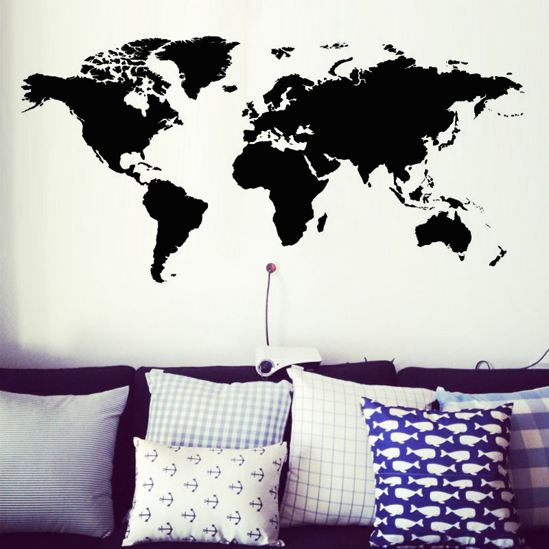 Creative home decor world map atlas wall sticker black printed bedroom decora - Stickers et decoration ...