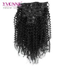 Aliexpress Yvonne Brazilian Virgin Hair Clip In Human Hair Extensions,7Pcs/set Kinky Curly Clip In Hair Extensions,Color 1B(China (Mainland))
