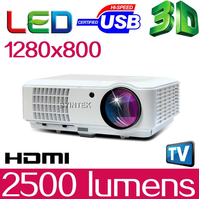 BYINTEK New 200inch 2500lumens 1280x800 WXGA 1080P 3D Video LCD Portable PC Film Cinema HDMI HDTV USB Video LED HD Projector(China (Mainland))