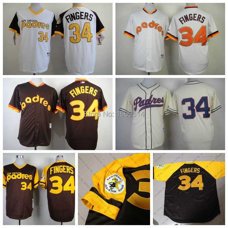 Free Shipping San Diego Padres 34 Rollie Fingers Brown Throwback Men's Baseball Jersey Embroidery and Sewing Logos,Size M--XXXL(China (Mainland))
