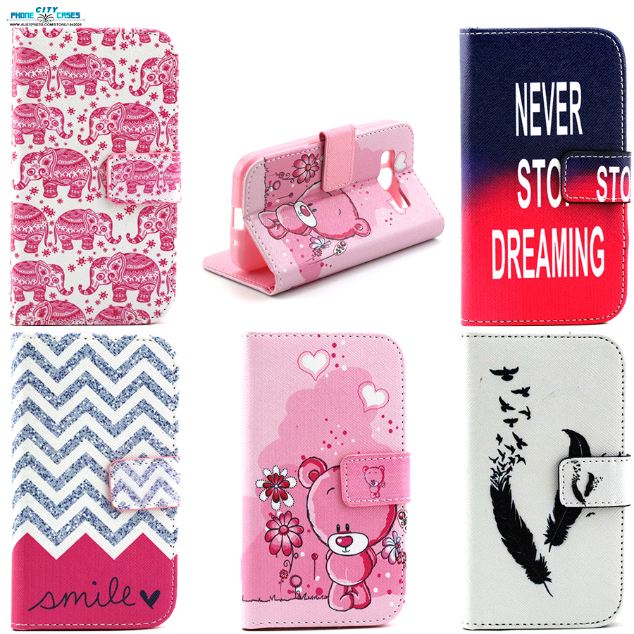 Magnetic Stand Holder Side Flip PU Wallet Cover case For Samsung Galaxy Core Prime G360 shell Feather bear wavy line pattern cos(China (Mainland))