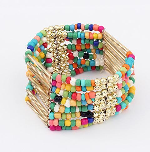 multi color beads bracelet fashion stretch statement bohemian bracelets for women 2015 jewelry wholesale