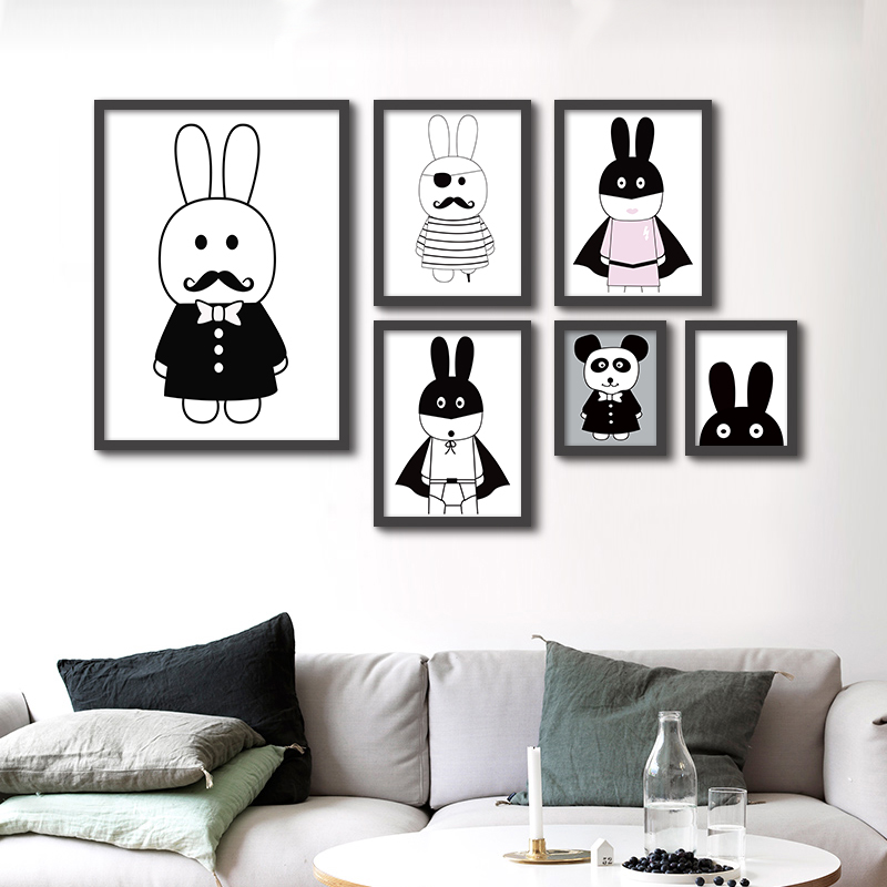 Modern Minimalist Nordic Black White Animals Canvas Painting A4 No Frame Art Print Poster Kids Room Wall Picture For Living Room(China (Mainland))