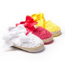 New Sweet Lovely Newborn Baby Princess Girls Kids First Walkers Infant Toddler Summer Soft Soled Big Bow Crib Anti-slip Shoes(China (Mainland))