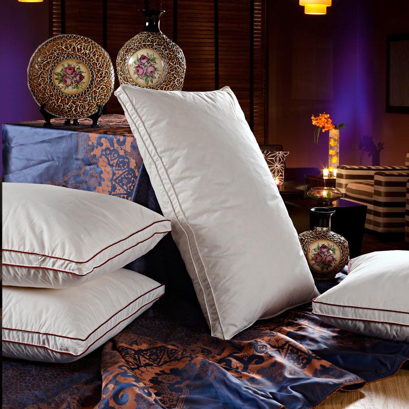 Promoci n de almohada de plumas de lujo compra almohada - Almohada pluma de ganso ...
