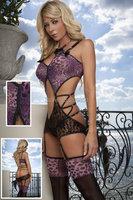 Сексуальное белье фиолетовый леопард кружева новая женщин платье + g строка + подвязки пижамы