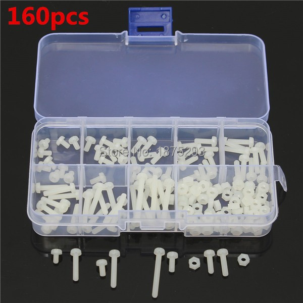 160pcs M3 White Nylon Screws 8 Sizes Assortment Stand-off Bolt & Nuts Kit M3*5/M3*6/M3*8/M3*10/M3*12/M3*15/M3*18/M3*25(China (Mainland))
