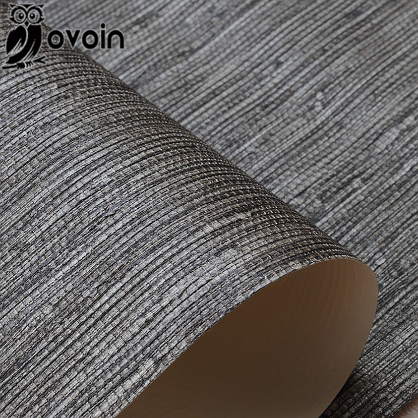Bamboo grass cloth wallpaper roll nature plain solid color taupe brown on black faux grasscloth for Papel texturizado pared