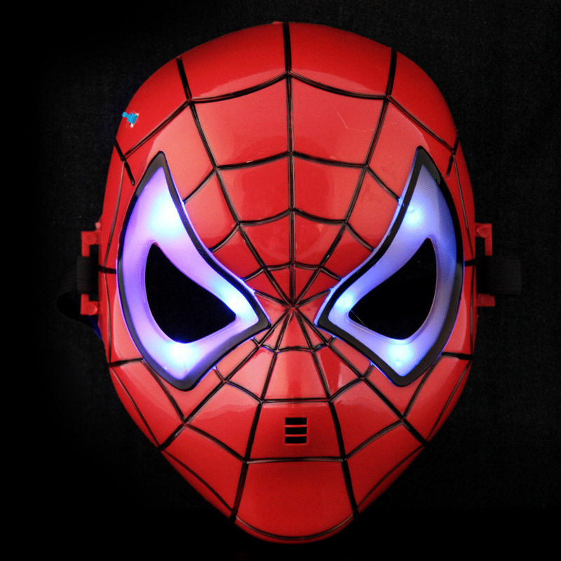 SpiderMan Mask Head Halloween Party Mask LED Glowing Party Mask Birthday Halloween Boy Gift TB Sale(China (Mainland))