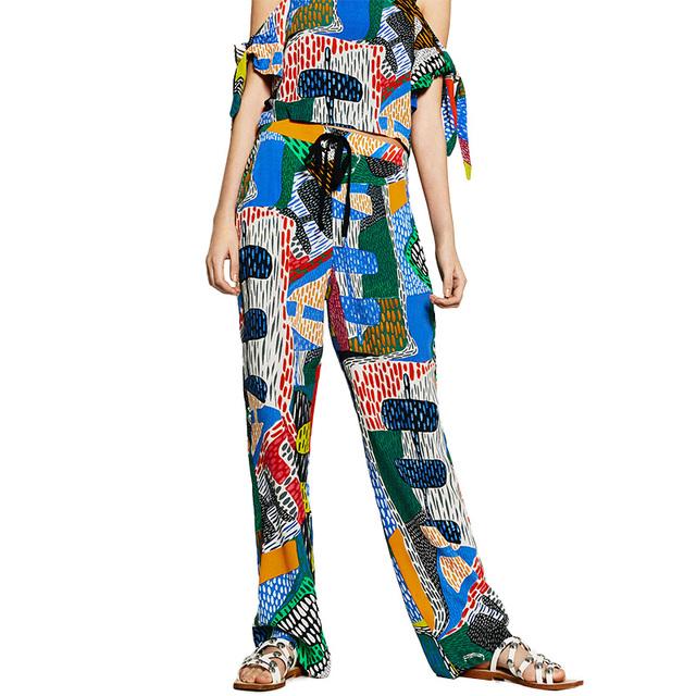 Женщины цвет шаблон печати брюки эластичный пояс шнурок карманы дизайн дамы повседневная ...