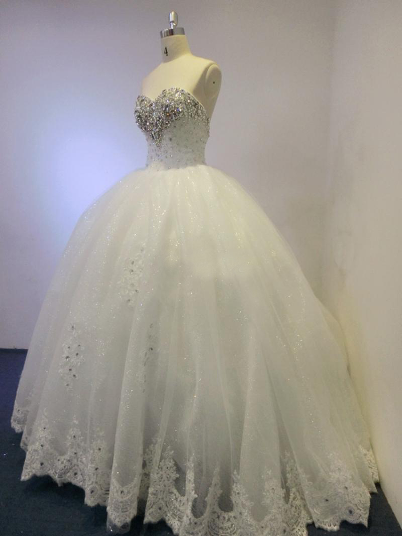 2015 Strapless Wedding Dress Tulle Sequin Ball Gown Custom Made Plus Size Wedding Dresses