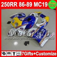 7gifts HONDA 86 87 88 89 CBR250RR MC19 86-89 Rothmans Blue QC308 CBR 250RR CBR250 RR 1986 1987 1988 1989 Fairing blue white - Motoclub store