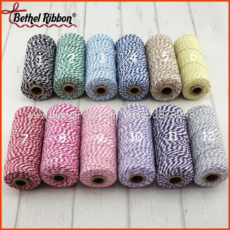 Routine Colors Discount 1pc 100m/roll 12ply free shipping Beautiful High quality colored cotton twine baker rope baker twine(China (Mainland))