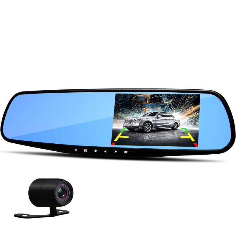 Гаджет  HD Dual Lens Car Camera Video DVR Dash Cam Rearview Mirror Right 4.3 inch LCD Screen Support Night Vision Car Black Box None Автомобили и Мотоциклы