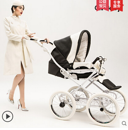 Royal chbaby luxury leather baby stroller child carriage umbrella vehicle high landscape handcartcan lie new wholesale(China (Mainland))