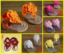 baby girl Toddler shoes Crochet Handmade Woolen Crochet Knit soft bottom summer kids shoes 6-12M chaussure bebe fille(China (Mainland))