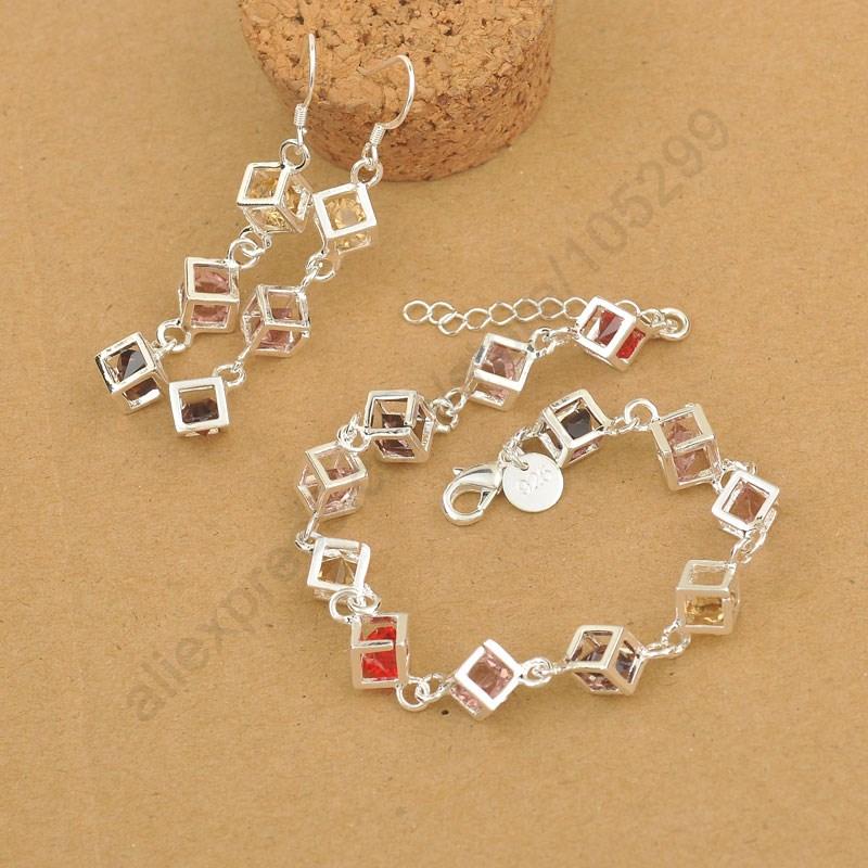 Гаджет  2015 New Happiness Rubik Cube Jewelry Set Real Pure Fine 925 Sterling Silver Jewelry Cubic Zirconia Bracelet Hook Earrings Sets None Ювелирные изделия и часы