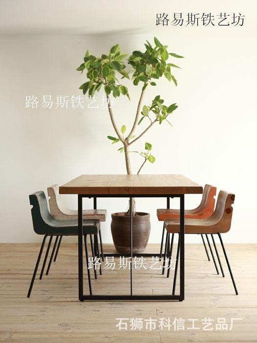 loft American retro wood to do the old wrought iron dining table dinette combination of long computer desk conference table desk<br><br>Aliexpress