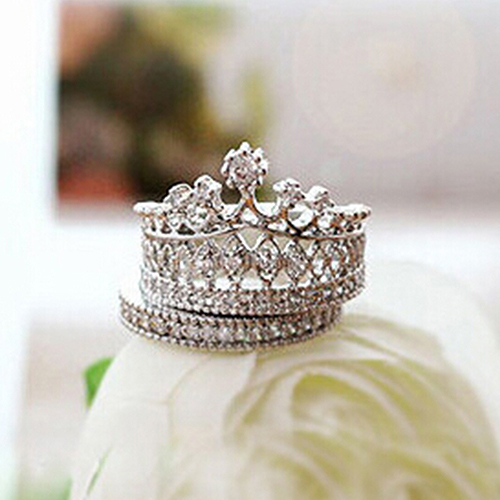 Lowest Price Women's Crown Statement Ring 2 Band Stack Rhinestone Alloy Jewelry Gift Golden 96CJ(China (Mainland))