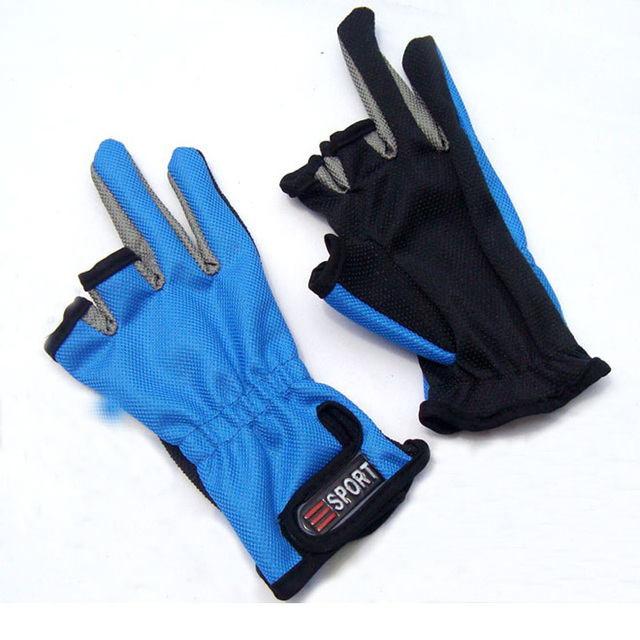 Gloves With Fingertips Out: 3 Fingers Cut Fishing Glove Out Expose Half Finger Free