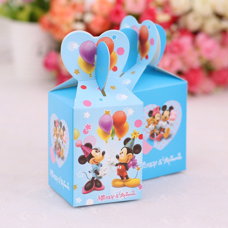Wedding Candy Box 100pcs Baby Shower Child Kids Birthday Party First Communion Favor Boxes Mickey Minnie Mouse Party Supplies(China (Mainland))
