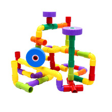 Hot Assembling Water Pipe Plastic Building Blocks Multicolor  Pipeline Building Blocks Toys For Baby Kids Learning Toys DD004(China (Mainland))