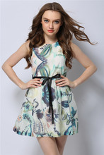 Summer new Europe women high-end boutique printing color dress woman major suit ladies fashionable dress clothing