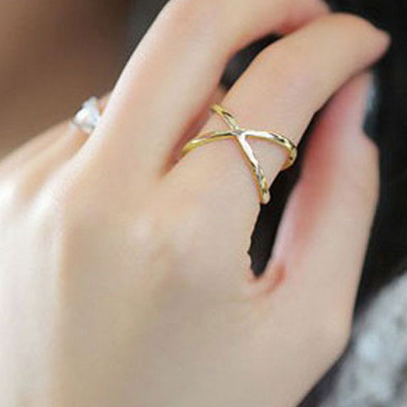 1 PCS Korean Style Simple Fashion Cross Design Index Finger Rings for Women Best Gift Jewelry