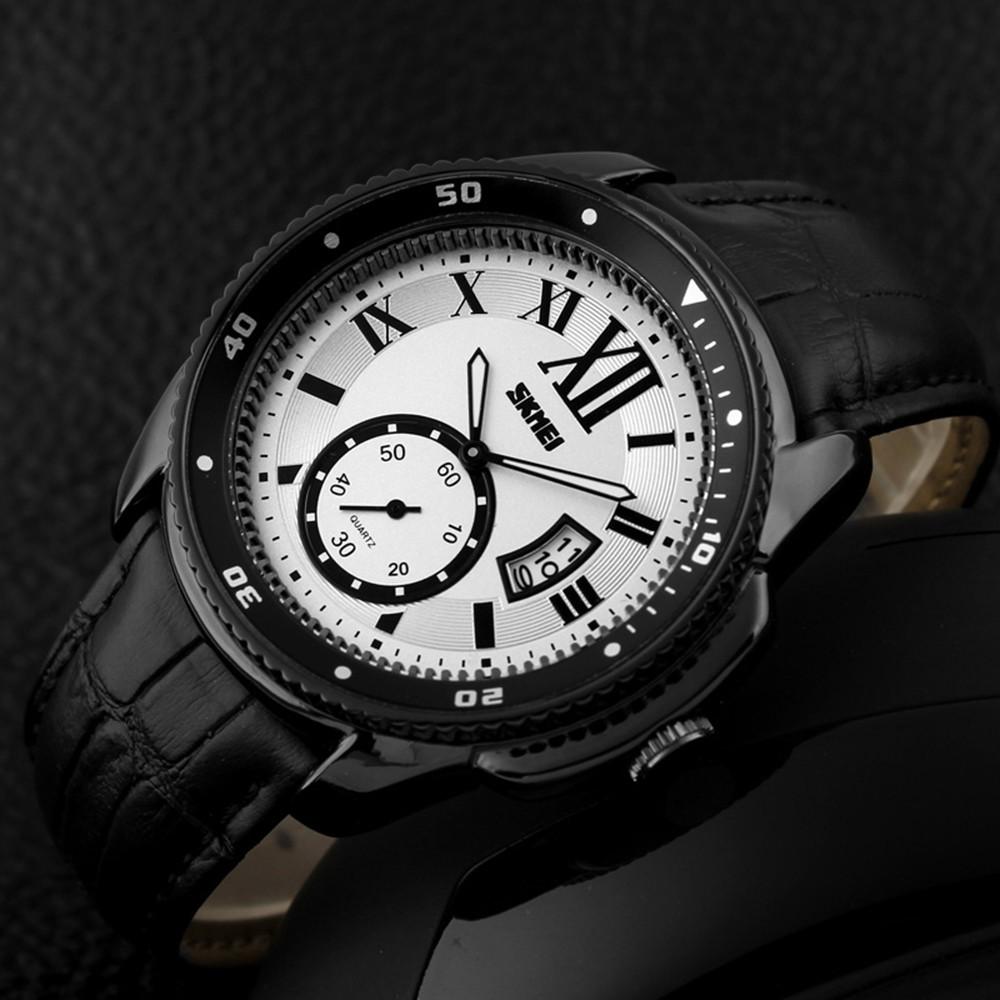 Часы Бизнес Кожаный Ремешок Skmei Кварцевые Водонепроницаемые Мужчины Наручные Часы Дизайн Моды Цифровые Часы