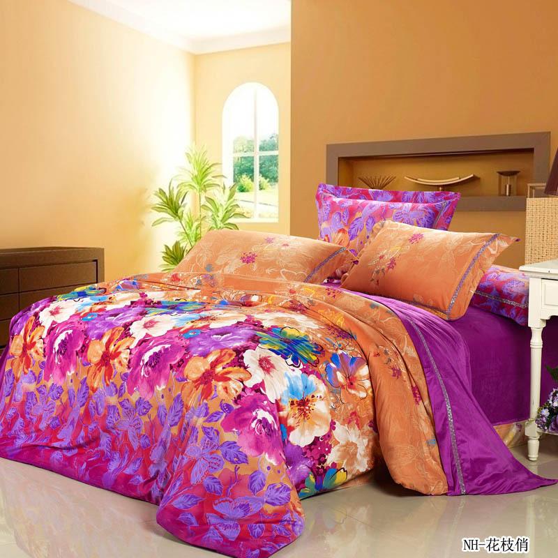 New fashion luxurious warm orange and purple comforter - Orange and purple bedding ...