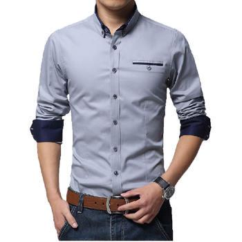 Brand Men Shirts Solid Color Slim Fit Man Long Sleeve Clothes 2015 New Fashion Men Business Casual Men Shirt Socia SMC522