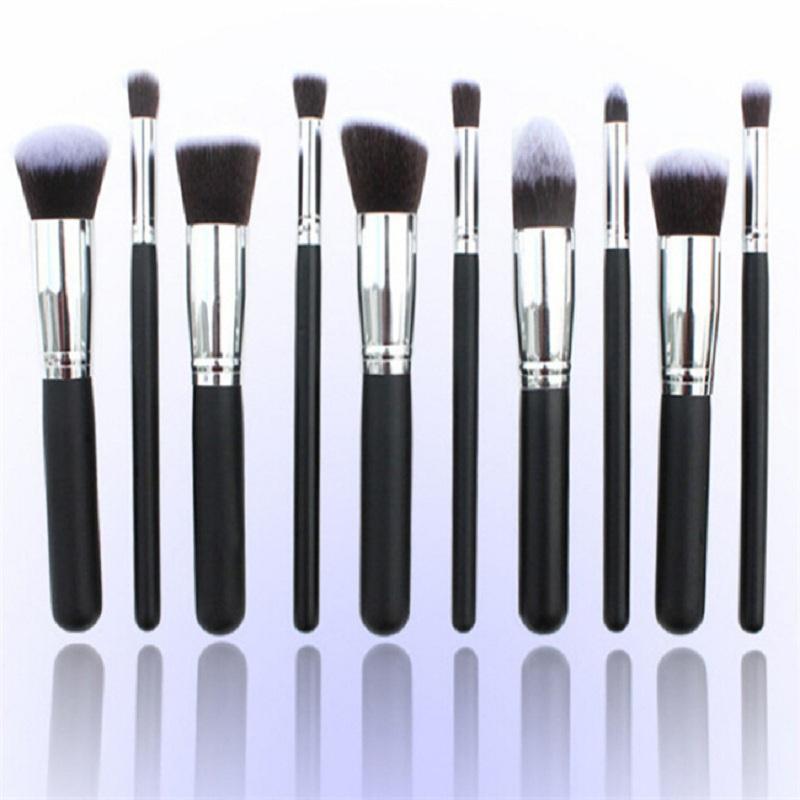 New 10pcs Black & Silver Soft  Professional Kabuki Beauty Makeup Blush Foundation Face Powder Synthetic Cosmetic  Brush Kits