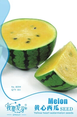 Yellow Heart Watermelon Seeds Original Package 8pcs/Bag Melon Seeds Home Garden Bonsai Seed(China (Mainland))