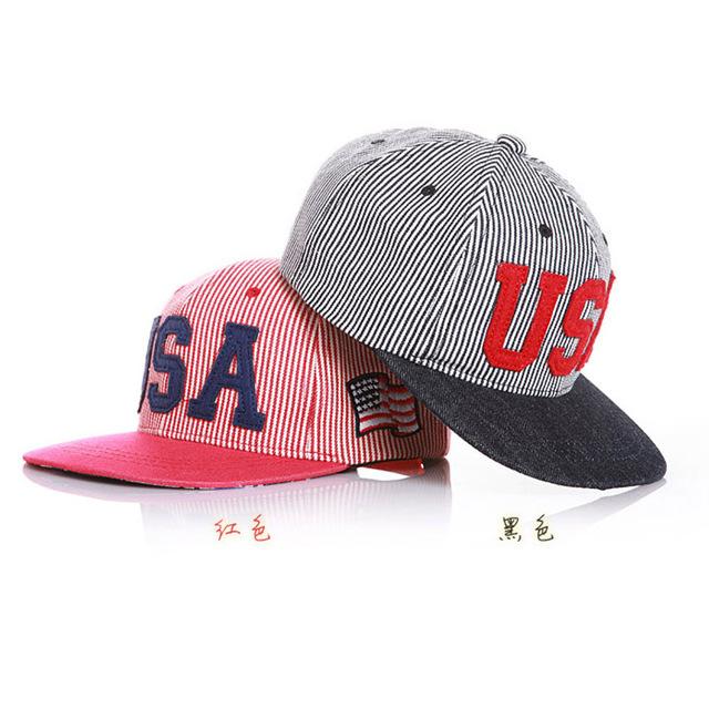 Сша флаг регулируемый бейсбол снэпбэк шляпы для детей спорт хип-хоп хлопок мужские улица головные уборы 2 цвета
