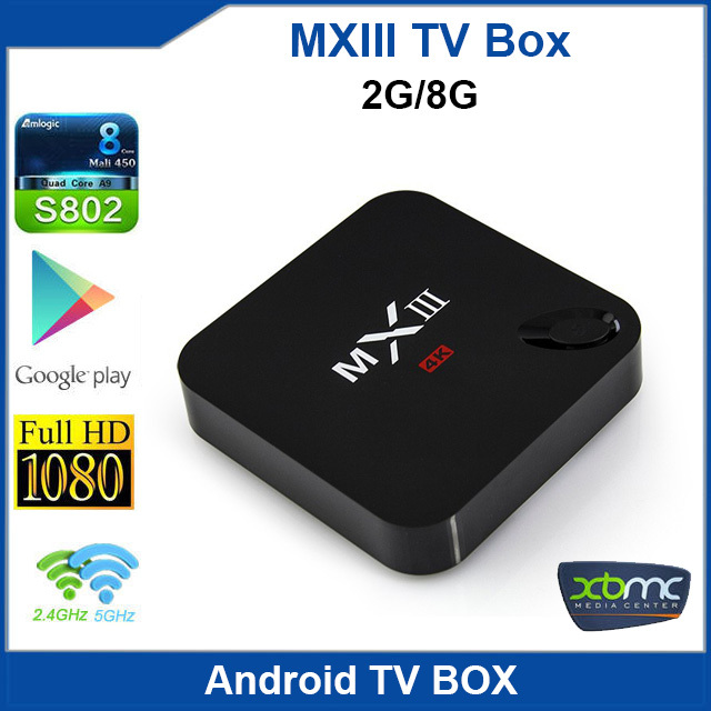 MXIII Amlogic S802 Quad Core 2.0GHz Android 4.4.2 Mini TV Box 2G/8G Dual Band 2.4G/5G WIFI Bluetooth Built in XBMC Media Player(China (Mainland))