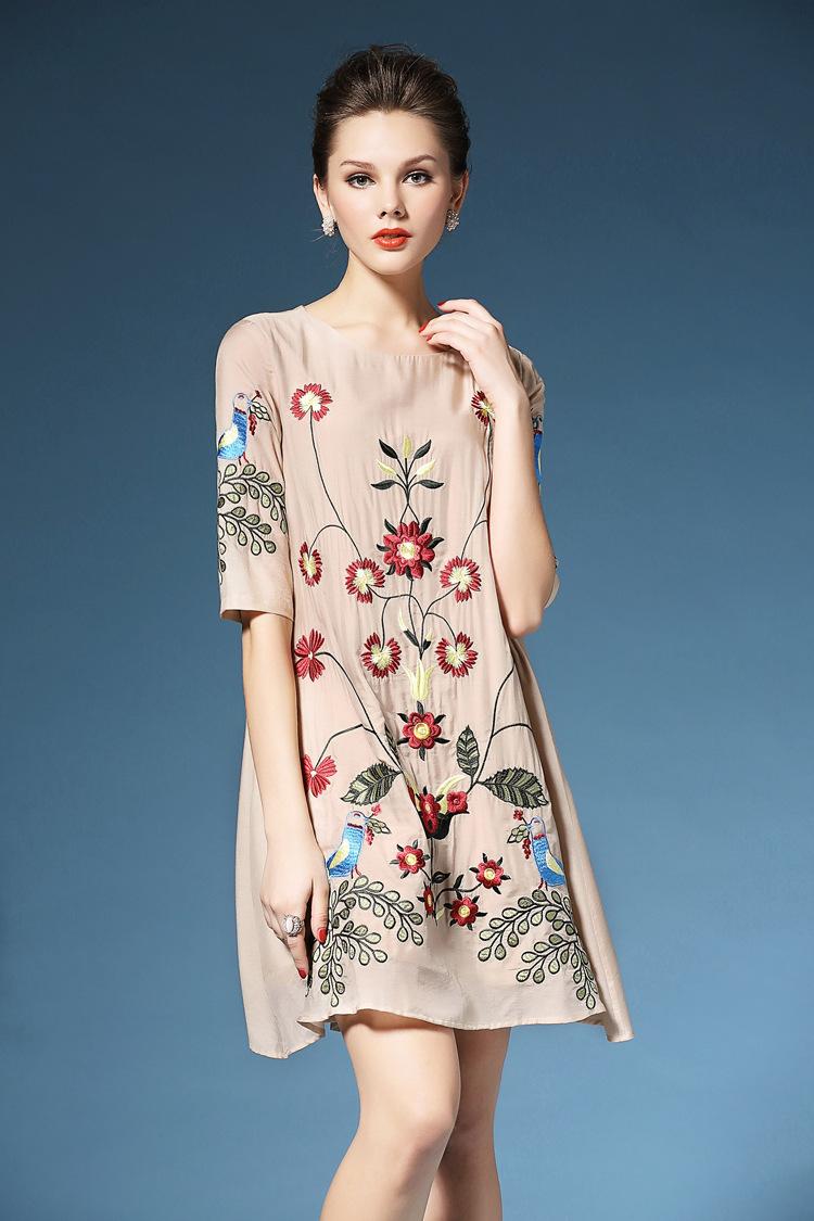 2016 Summer new style fashion loose half sleeve cotton embroidered casual O-neck dress elegant dresses female women clothing(China (Mainland))