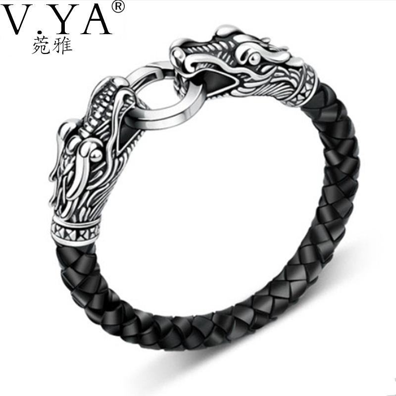 leather Tibetan silver men bracelet titanium fashion male vintage accessories parataxis dragon bracelet men jewelry TH-140(China (Mainland))