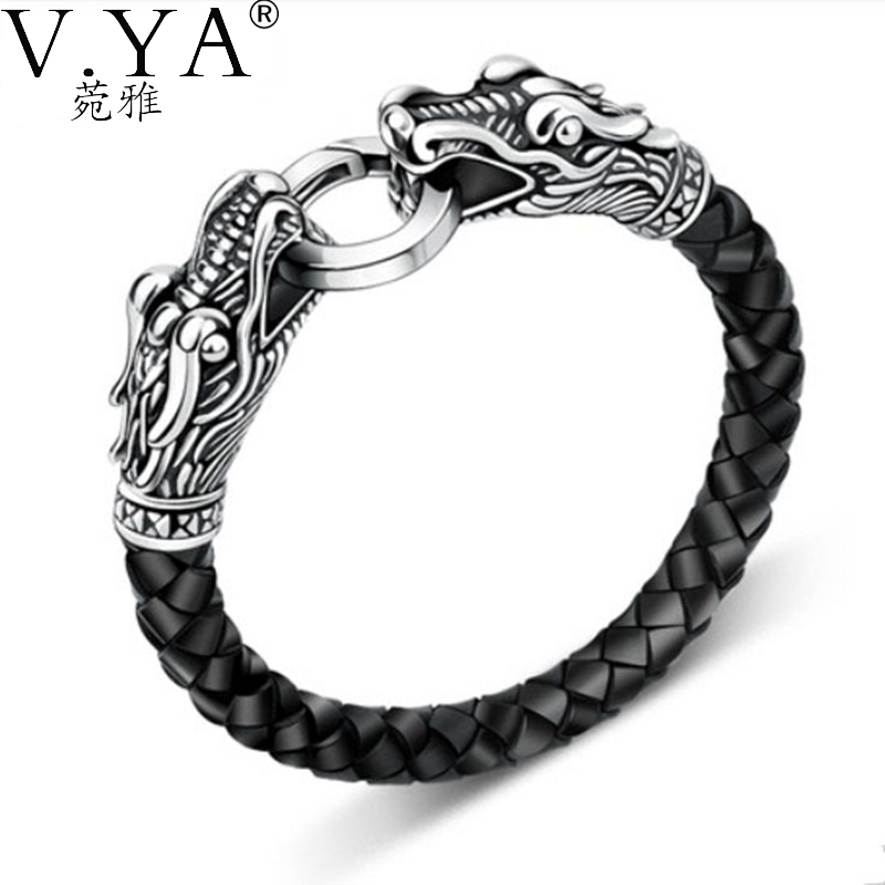 leather Tibetan silver men bracelet titanium fashion male vintage accessories parataxis dragon jewelry TH-140 - VYA Jewelry Official Store store