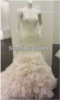 Custom make!Georgette Mermaid Gown with Dramatic Organza Skirt Style VW351136