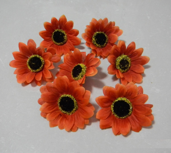 New Arrival Free shipping 7cm 2Colors Sunflower Head ,Artificial Flowers 100pcs/lot AF303(China (Mainland))