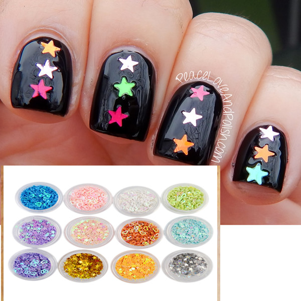 12 Boxes/Set Nail Glitter Heart and Star Patterns Design Tips Decoration Shiny Glitter Powder Beauty Nail Art Decorations 83059(China (Mainland))