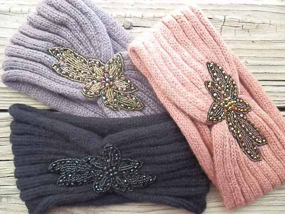 2014 New Fashion Autumn winter Irregular Beading Rivet Flower Crochet Headbands Knitted Headwrap Women(China (Mainland))